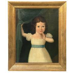 American School Folk Art Portrait of a Young Girl