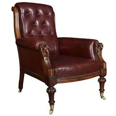 Victorian Burgundy Leather Upholstered Mahogany Framed Armchair