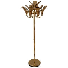 Brass Floor Lamp with Large Murano Leaves