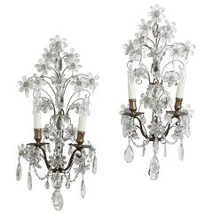 Pair of French Crystal and Brass Sconces, circa 1890