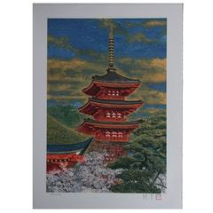 Color Lithograph of Temple in Spring by Japanese Painter Sumio Goto