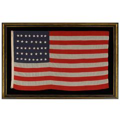Antique American Flag with 38 Hand-Sewn Stars