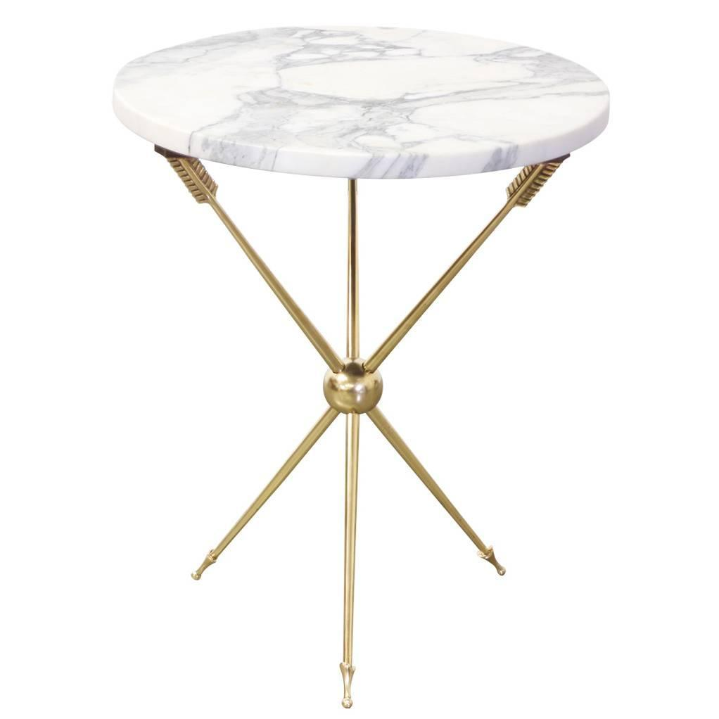Italian brass arrow base side table with marble top at 1stdibs for Side table base