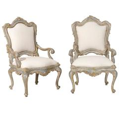 Pair of Italian Venetian Style Painted Richly Carved Armchairs