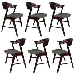 Kai Kristiansen dining chairs, Brazilian Rosewood. Rare compass style.