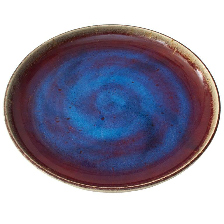Large Scandinavian Modern Rorstrand Studio Bowl Oxblood and Sapphire Blue