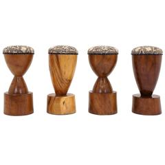 Set of Four 1960s Barstools of Solid Walnut and Exotic Woods