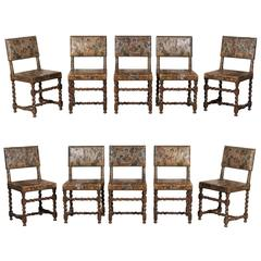 Set of Ten Swedish 18th Century Baroque Style Leather Chairs