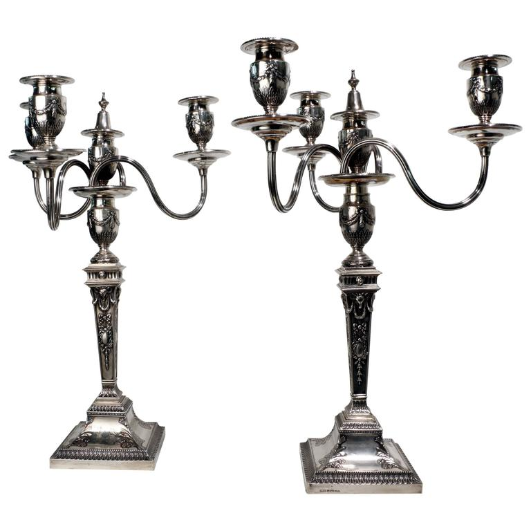 Pair of Victorian Adam Style Four-Light Silver Candelabra For Sale