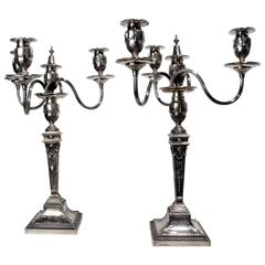 Pair of Victorian Adam Style Four-Light Silver Candelabra
