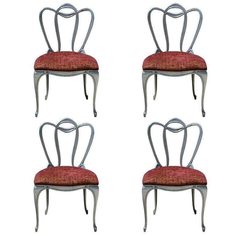 Hollywood Regency Aluminum Chair Set For Sale