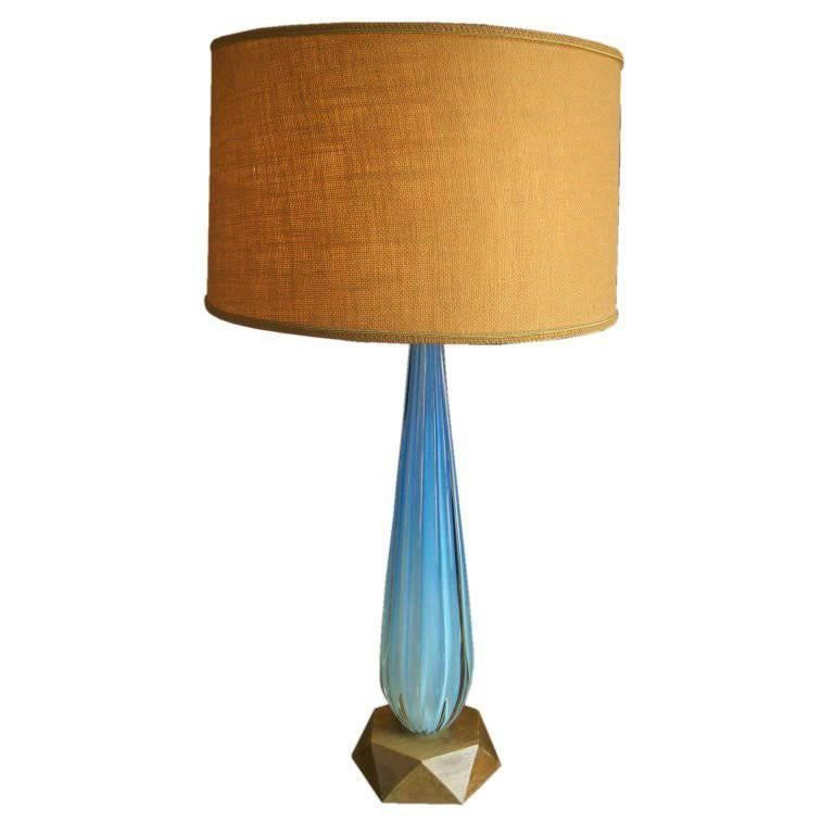 Seguso Aqua Blue Channelled Murano Glass Lamp  For Sale