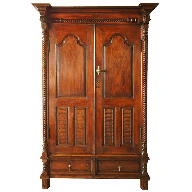 Indo portuguese teak and rosewood almirah cabinet at 1stdibs for Sideboard lindholm