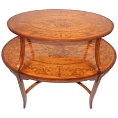 English Edwardian Inlaid Satinwood Tea Table