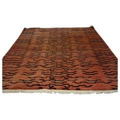 Large Hand Tufted Tibetan Rug in a Abstracted Tiger Pattern