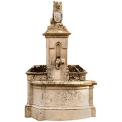 Castle Fountain, 19th Century, with Lion on the Top, Limestone