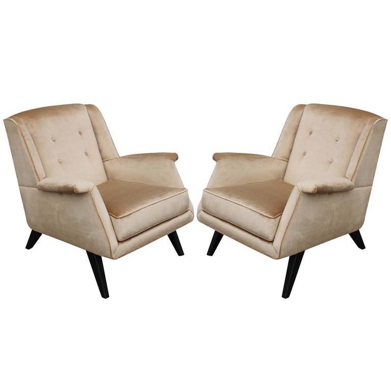 Pair of Modern Velvet Italian Sculptural Lounge Chairs