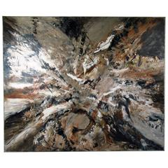 """Large Abstract Acrylic Painting Signed """"R.H. Hoffman 1982"""""""