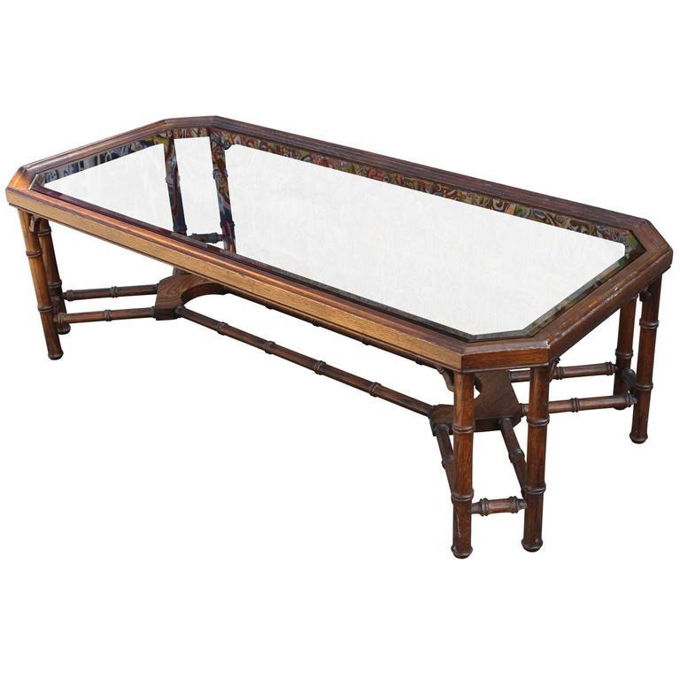 Wonderful Rectangular Vintage Faux Bamboo Hollywood Regency Table