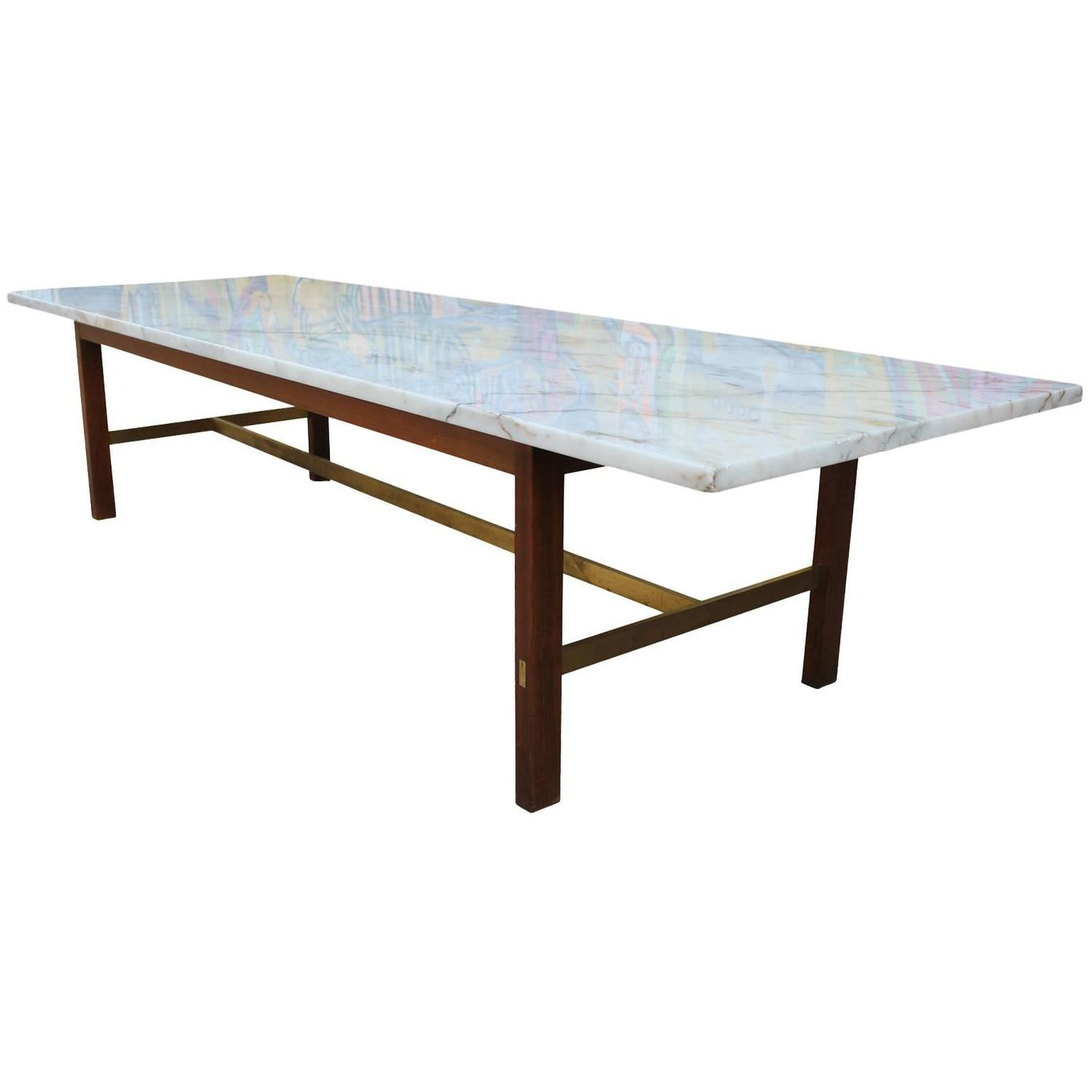Paul McCobb Marble and Brass Coffee Table at 1stdibs