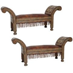 Pair of Wood and Leather Moroccan Benches with Bone Inlay