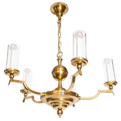 Scandinavian Modern Five-Arm Brass Chandelier with Cylindrical Glass Shades