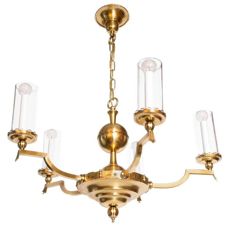 Scandinavian Modern Five-Arm Brass Chandelier with Cylindrical Glass Shades For Sale
