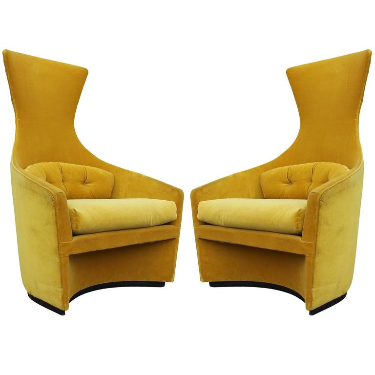 Stunning Pair of Adrian Pearsall Curved Tall Lounge Chairs at 1stdibs
