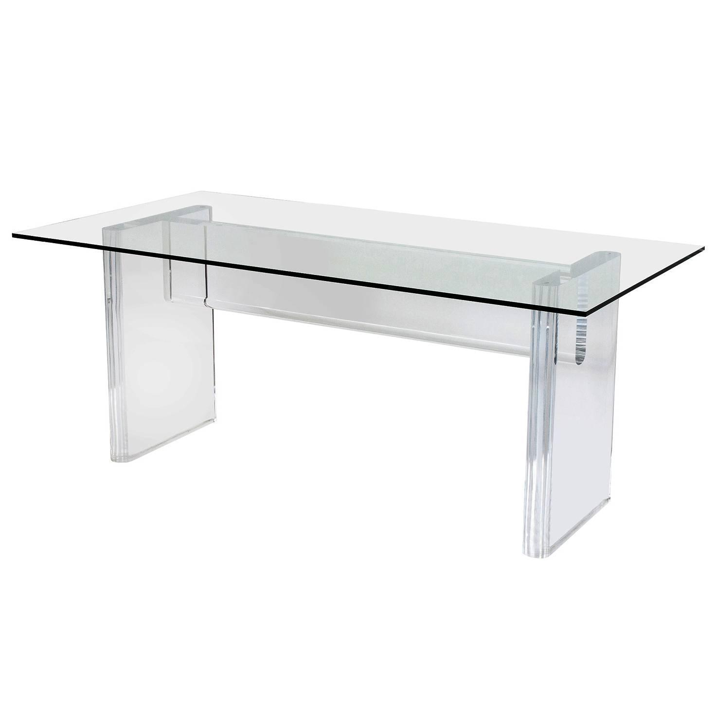 Karl springer style thick lucite dining table or desk at for Perspex furniture