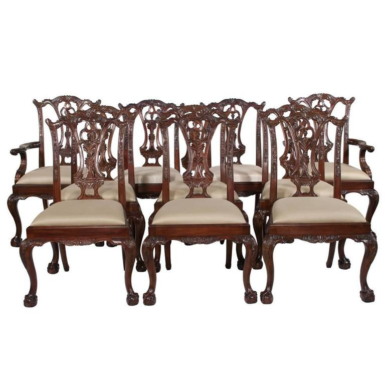 Chippendale Mahogany Dining Chairs, S/10 For Sale