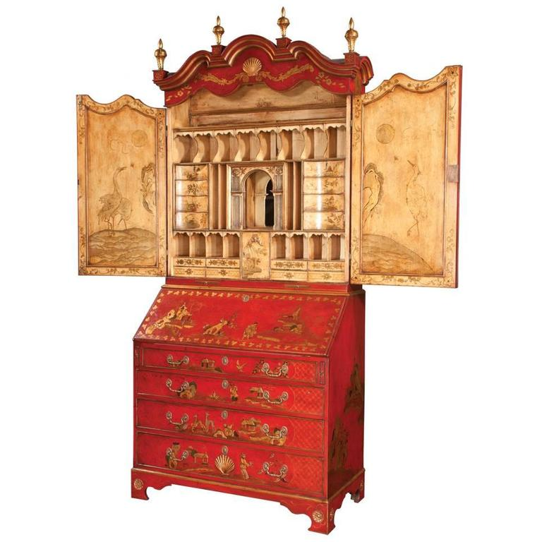 Queen Anne Chinoiserie Secretary For Sale