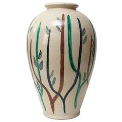 Large Scandinavian Modern Studio Vase with Hand-Painted Design by Mette Doller