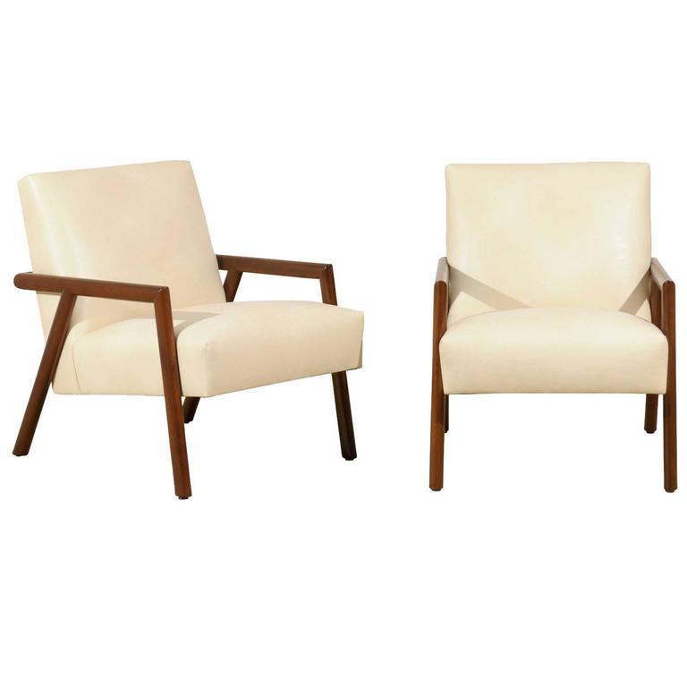 Restored Pair of Gibbings Style Walnut Loungers