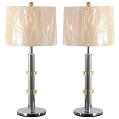 Pair of Vintage Jansen Style Lamps in Chrome and Brass