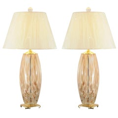 Stunning Pair of Blown Murano Lamps with Brass and Lucite Accents