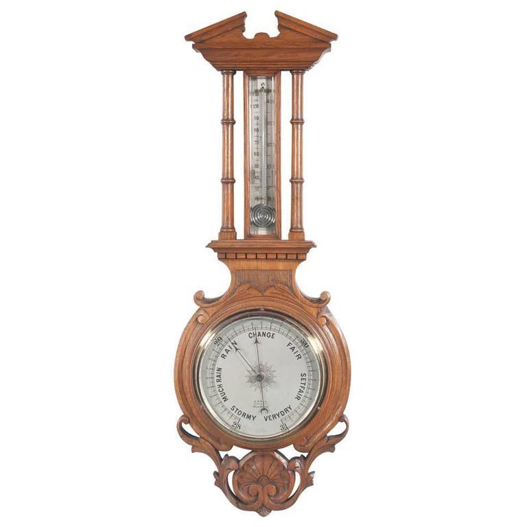 English Oak Barometer For Sale