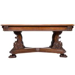19th Century Carved Walnut Italian Library Table