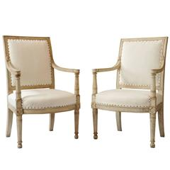 Pair of Napoleonic Painted Open Armchairs by Jacob-Desmalter, circa 1805