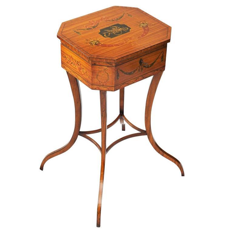 English 19th Century Satinwood Sheraton Style Teapoy, circa 1880
