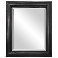 "Large ""Half Round Molding Mirror"" in Black Cobra by Karl Springer"