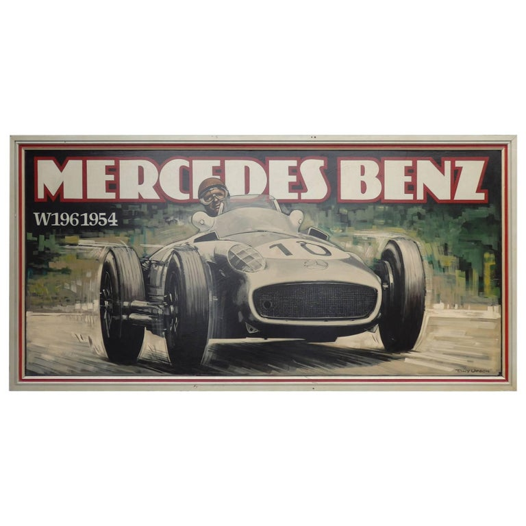 Massive Oil on Board Mercedes Grand Prix Race Car Painting For Sale