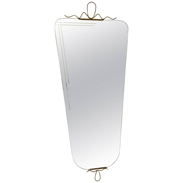 Beautiful Italian Mid-Century Brass Wall Mirror from the 1950s