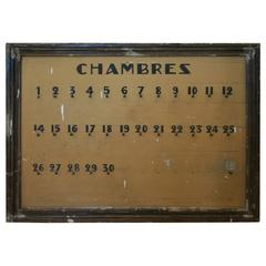 "Great French Hotel Key Sign ""Chambres"", circa 1910"