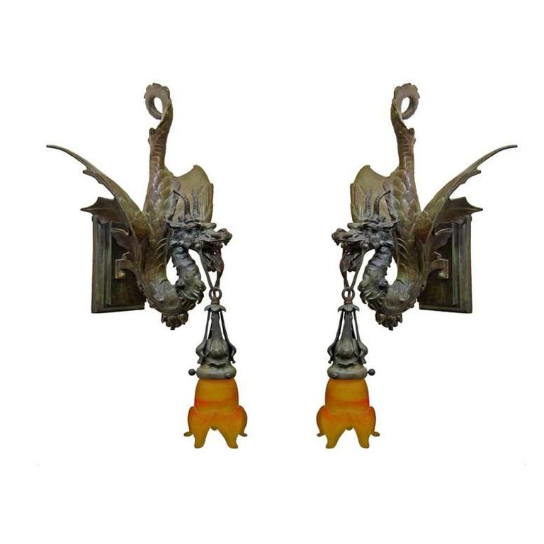 Cast Bronze Medieval Gothic Dragon Sconce Pair For Sale