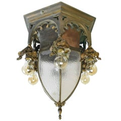 Early 20th Century Cast Bronze Gothic Pendant with Bent Glass Shade