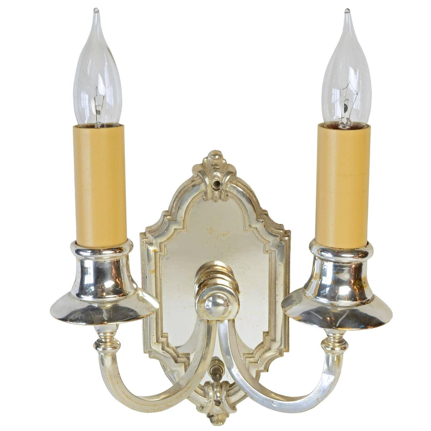 Silver Wall Sconces For Candles : Silver Plated Two-Candle Wall Sconce, circa 1915 at 1stdibs