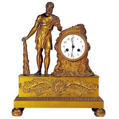 Gilt Bronze Clock Depicting Hercules, France, 1820