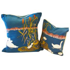 Framm & Company Fantasy Swan Hand-Embroidered Pillow