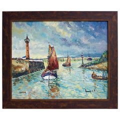 """Entree Du Port De Honfleur"" Oil on Canvas by Lavoine"