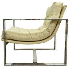 Mid Century Modern Milo Baughman Style Chrome Flat Bar Scoop Lounge Club Chair